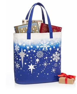 Snowflakes & Stars Blue Ombre Canvas Tote 18