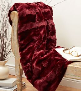 Plush Luxe Claret Faux Fur Throw (50
