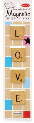Love Word Tile Magnetic Page Clips Set of 4