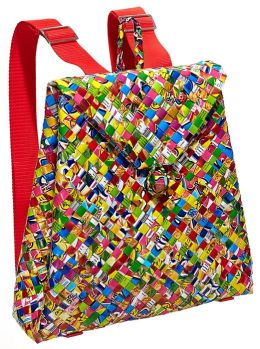 Multi Colors Recycled Juice Label Backpack 11