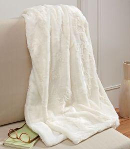 Plush Luxe Ivory Faux Fur Throw 50