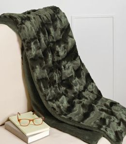 Plush Luxe Olive Faux Fur Throw 50