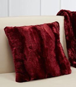 Plush Luxe Claret Faux Fur Throw Pillow 16.5'' x 16.5''
