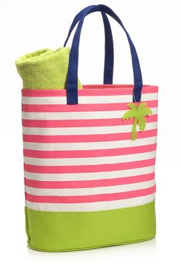 Pink French Stripe Canvas Summer Tote with Palm Tree Charm (14'' x 16'' x 7'')
