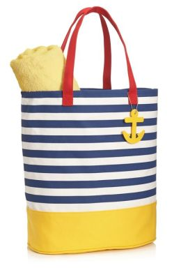 Navy French Stripe Canvas Summer Tote with Anchor Charm (14'' x 16'' x 7'')