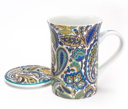 Blue & Turquoise Paisley Mug with Lid in Gift Box, 10 oz.