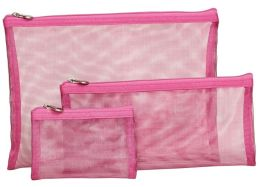 Pink Metallic Mesh Pouch Set of 3 - 9.75'' x 7'' x .75''