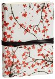 Product Image. Title: Cherry Blossoms on White Italian Leather Journal with Black Tie (6'' x 8'')