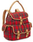 "Product Image. Title: Tartan Red Woven Backpack with Tan Faux Leather Trim 11"" x 6.25"" x 13.25"""