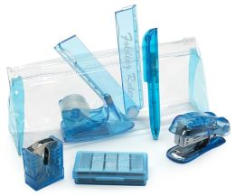 Mini Blue Stationery Set in Pouch( 6 Items) (6.75''x2.75''x1.5'')