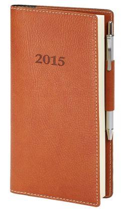 2015 Weekly Pocket British Tan Bonded Leather Engagement Calendar