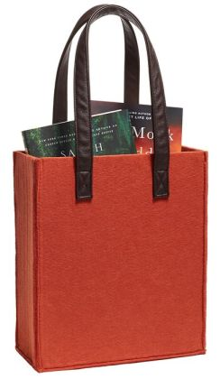Paprika Felt Tote with Leather Look Handles 11'' x 13'' x 4.5''