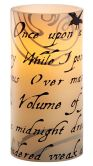 Product Image. Title: Raven Script on Ivory Flameless Candle 6''