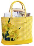 "Product Image. Title: Yellow Gingham Cotton Tote with Photo Real Daffodil Flower 16"" x 14"" x 7"""