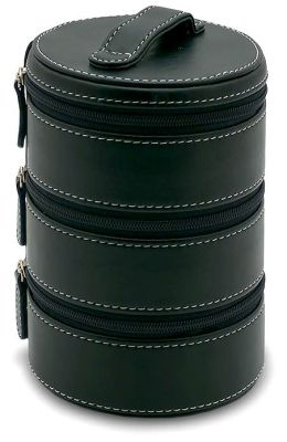 Black 3 Tier Round Accessory Case