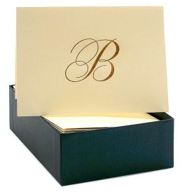 Engraved Gold Initial B Ecru Boxed Card set of 20