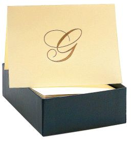 Engraved Gold Initial G Ecru Boxed Card set of 20