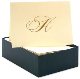 Engraved Gold Initial H Ecru Boxed Card set of 20