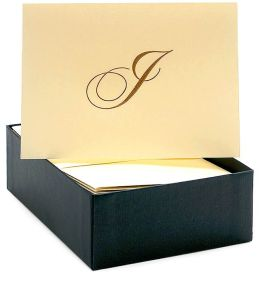 Engraved Gold Initial I Ecru Boxed Card set of 20
