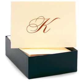 Engraved Gold Initial K Ecru Boxed Card set of 20