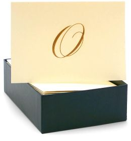 Engraved Gold Initial O Ecru Boxed Card set of 20