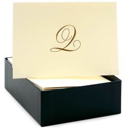 Engraved Gold Initial Q Ecru Boxed Card set of 20