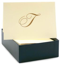 Engraved Gold Initial T Ecru Boxed Card set of 20