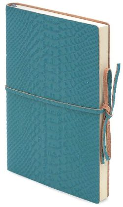 Aqua Faux Alligator Embossed Leather Journal with Tie 6x8