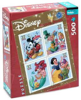 Disney Postage Stamp 500 Piece Puzzle with Poster