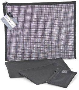Black Grid Mesh Pouch set of 4