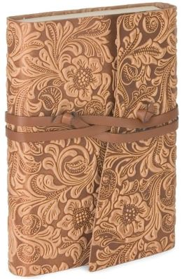 Tivoli Embossed Floral Tan Wrap Italian Leather Journal (6