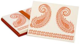 Orange and Natural Paisley Notecards set of 6