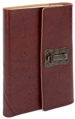 Wood Textured Brown Italian Leather Journal with Lock 6'' x 8''