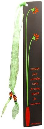 Orange Flower Vase Metal Bookmark