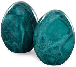 Malachite Green Italian Alabaster Egg Bookends Set of 2