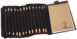 Black Leather Sketch Set With Color Pencils