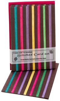 Chocolate with Multi-Stripe Notecards, Set of 8