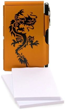 Black Dragon Orange Memo Mate Note Pad with refills