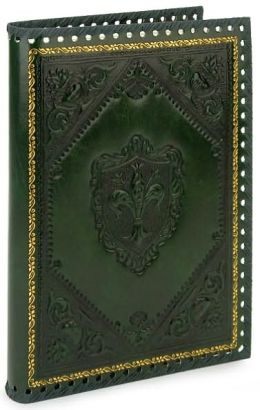 Embossed Fleur De Lis Green Italian Leather Journal (9