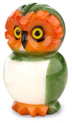 Green Italian Alabaster Owl Paperweight (4