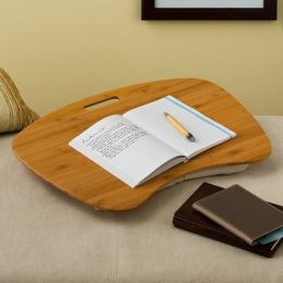 Bamboo Wood Contour Lap Desk with Cotton Hopsack Pillow by