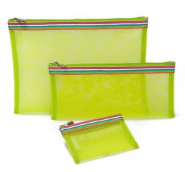 Rainbow Ribbon Green Mesh Pouches Set of 3