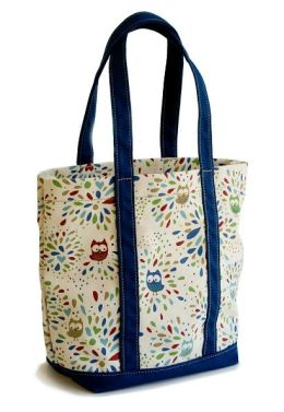 Confetti Owl Mini Canvas Book Tote (4