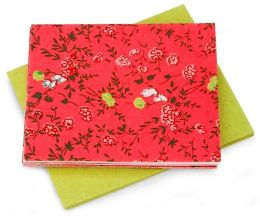 Red & Lime Fabric Notecard -Set of 6 (3.5 x 5)