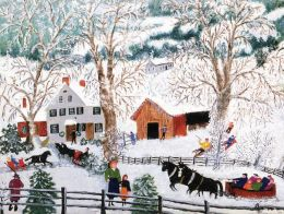 Horse and Sleigh Boxed Holiday Full Notecards