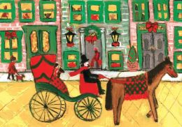 Carriage Ride Through Town Boxed Holiday Half Notecards
