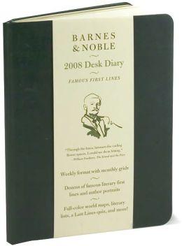 2008 Barnes & Noble Green Softcover Desk Diary Calendar