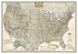 USA Executive Laminated Wall Map