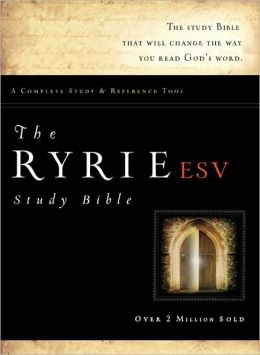 The Ryrie ESV Study Bible Genuine Leather Burgundy- Red Letter