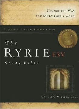 The Ryrie ESV Study Bible Calfskin Leather Black- Red Letter